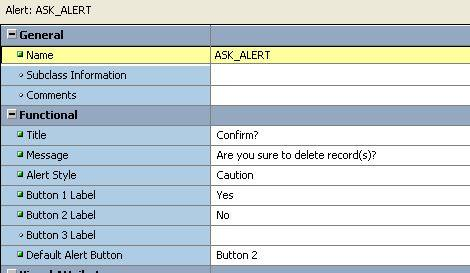 confirmation alert in Oracle forms.