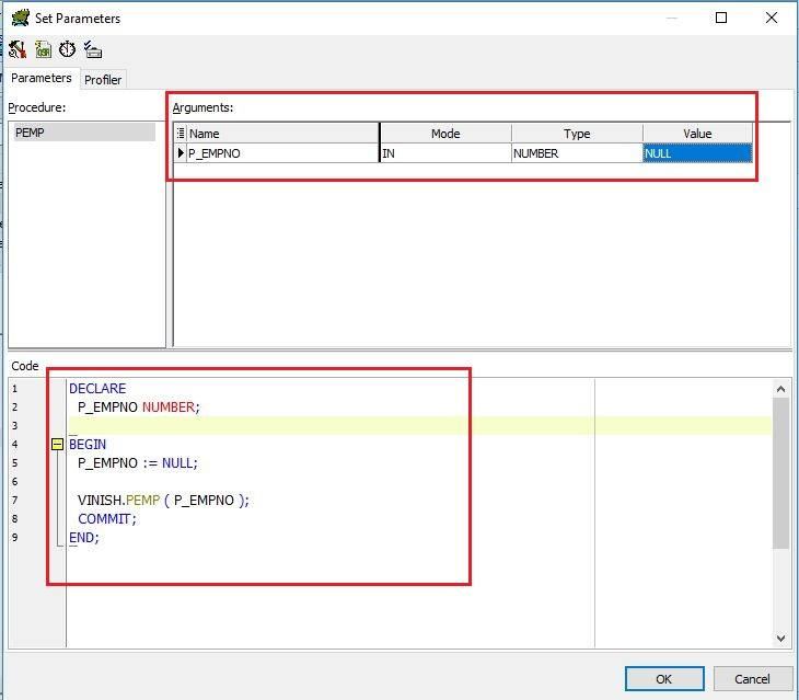 execute stored procedure in toad