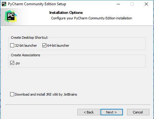 select installation options for PyCharm IDE