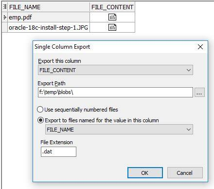 export BLOB data from Oracle using Toad