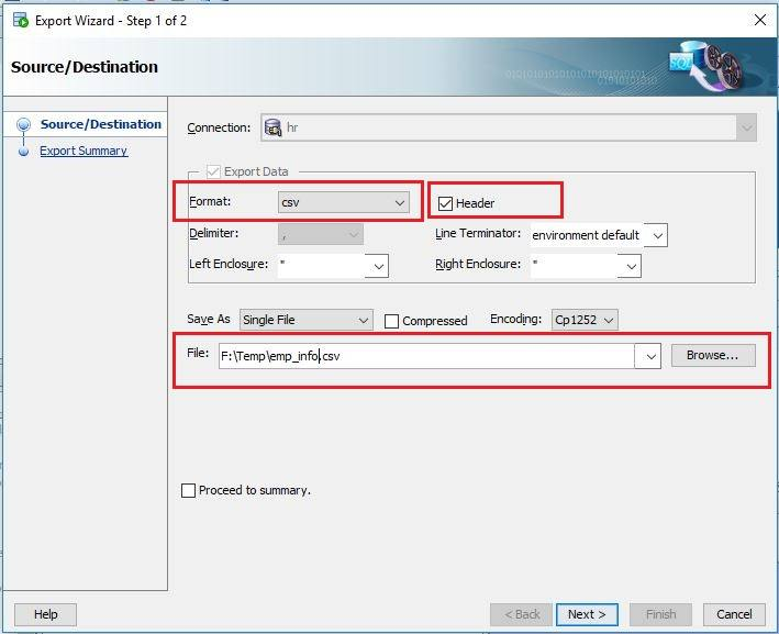 Export table data using SQL query to CSV file in Oracle SQL Developer