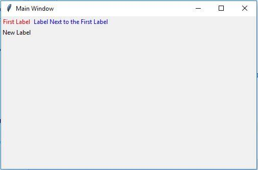 Create the labels with different colors in Tkinter