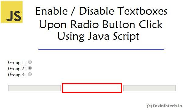 Enable/Disable Textbox in JavaScript