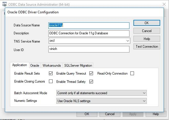 Configure ODBC Connection for Oracle 11g
