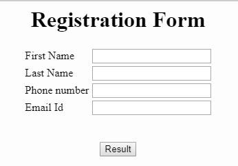 PHP registration form example.