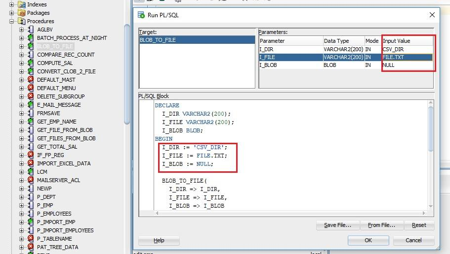 Oracle SQL Developer execute stored procedure window.