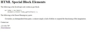 Read more about the article HTML Special Block Elements