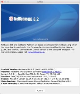 NetBeans about page.
