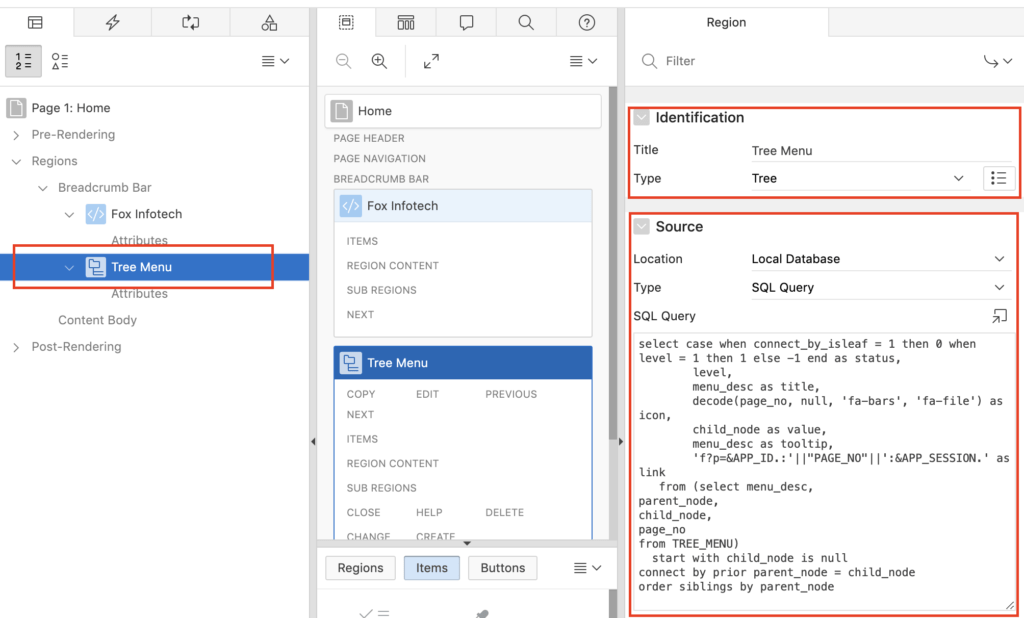 Data source setting for the Tree in Oracle Apex.