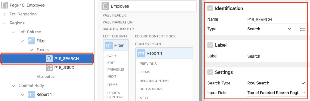 Oracle Apex search facet.
