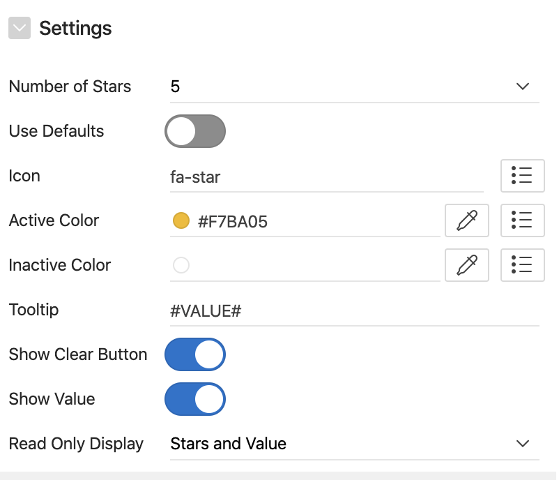 Oracle Apex - Customize star rating page item.