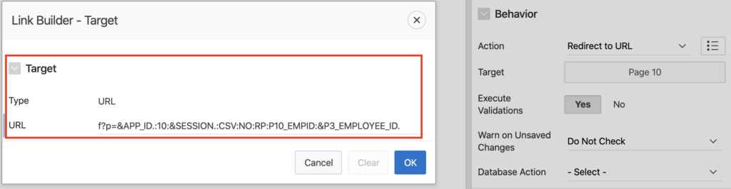 Oracle Apex button for custom URL.