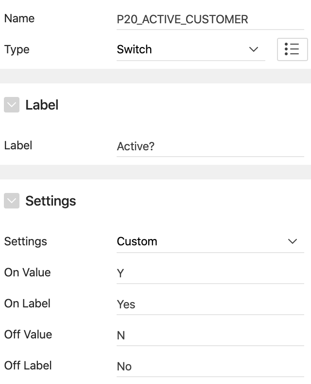 Oracle Apex Switch settings.