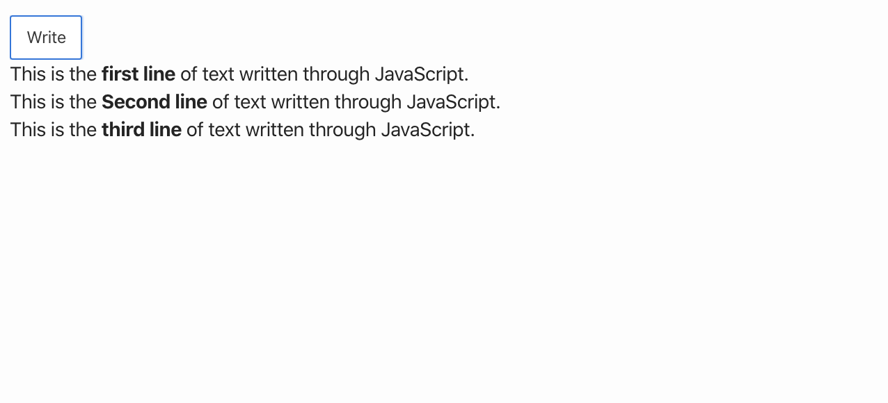 Oracle Apex - write text using JavaScript into a region.