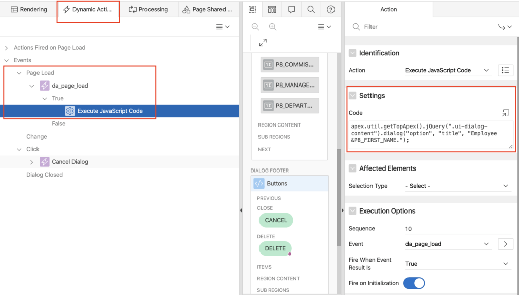 Oracle Apex: Change dialog title using JavaScript on page load event.