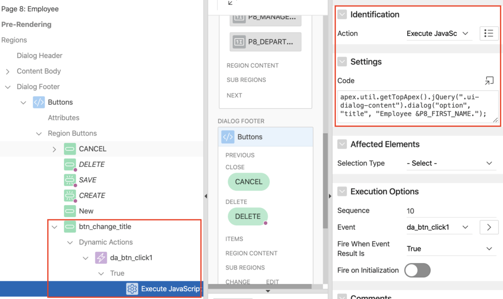 Oracle Apex change dialog title on button click.