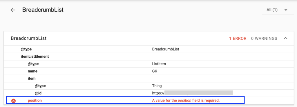 Breadcrumblist - a value for position field is required error.