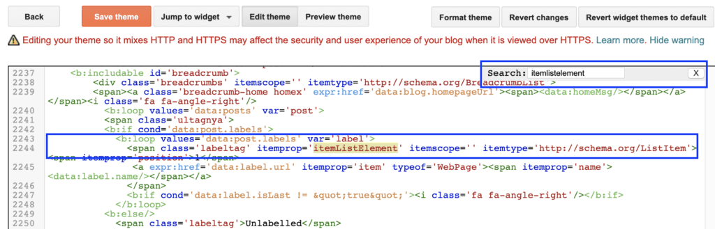 Blogger: search in HTML.