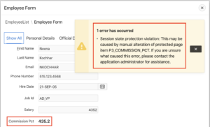"""Read more about the article Resolve """"Session State Protection Violation"""" Error in Oracle Apex"""