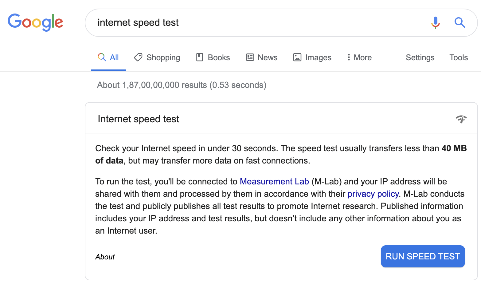 Google's test your internet speed.