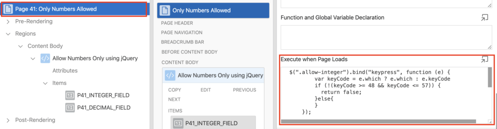 Add jQuery code to a Page in Oracle Apex.
