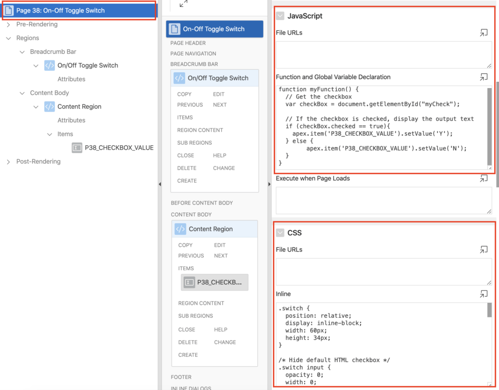 CSS and JavaScript settings for Toggle Switch in Oracle Apex.