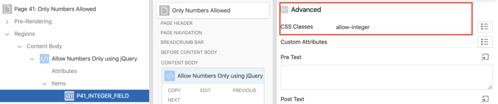 Add a CSS class to a field in Oracle Apex.