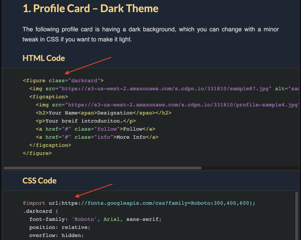 Copy the HTML and CSS code snippets.