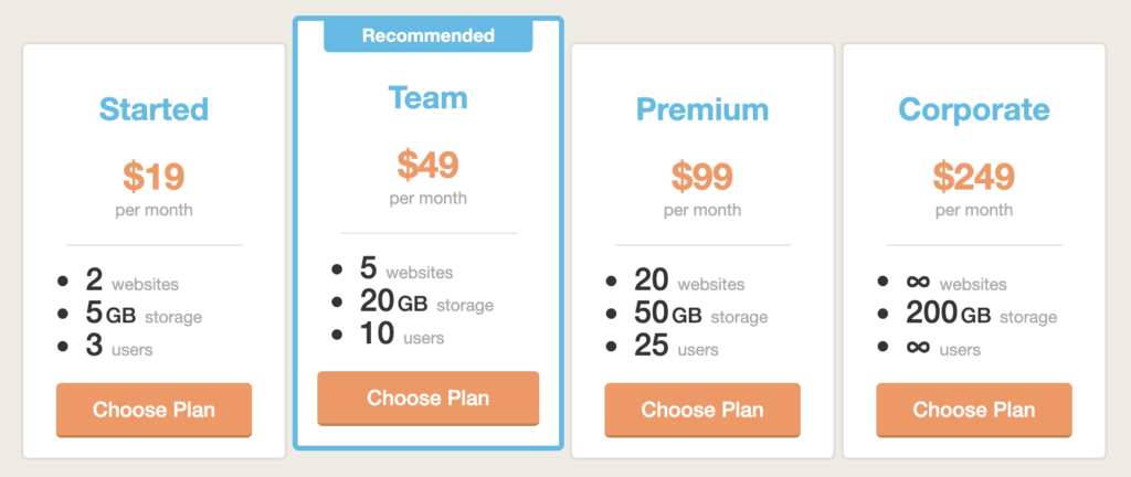Pricing table example 2.