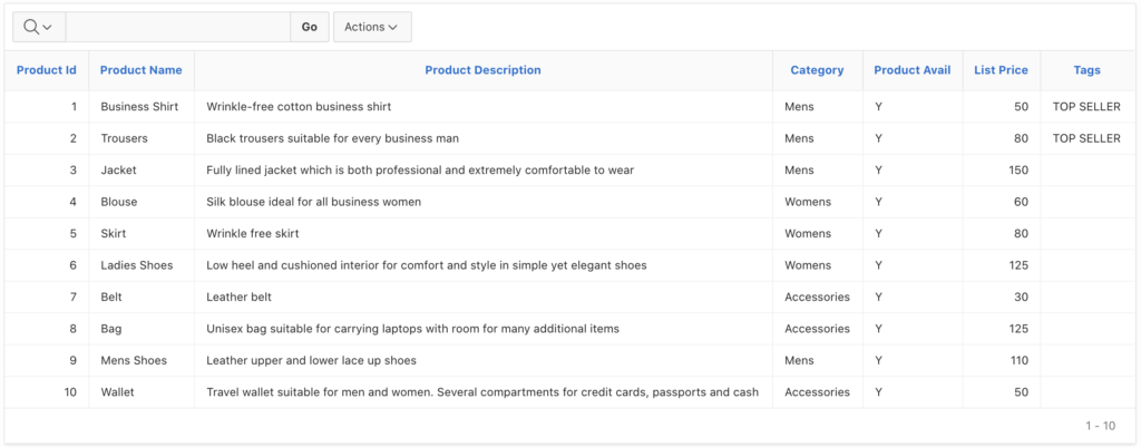 Product detail report in Oracle Apex.