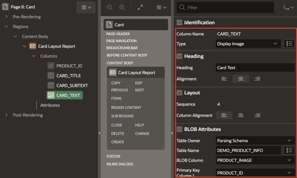 Card layout report image column settings.